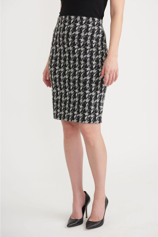 Joseph Ribkoff Style 203510 Black/Off-White Crosshatch Slip-On Pencil Skirt