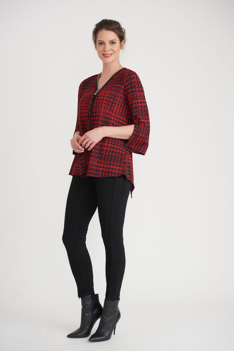 Joseph Ribkoff Black/Red Houndstooth Print Zip-Front Tunic Top 203511 NEW