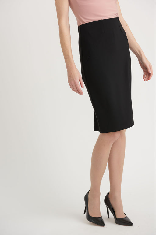 Joseph Ribkoff Style 203524 Black Ruffled Back Slit Slip-On Pencil Skirt