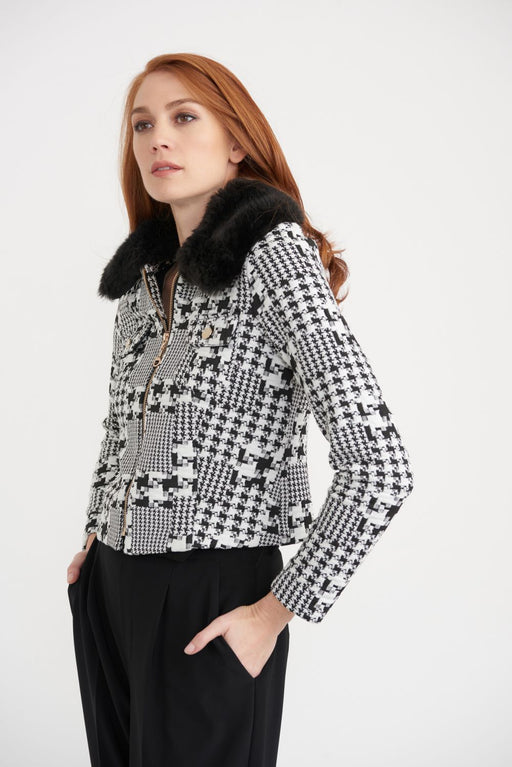 Joseph Ribkoff Style 203529 Black/Off-White Houndstooth Faux Fur Trim Cropped Coat Jacket
