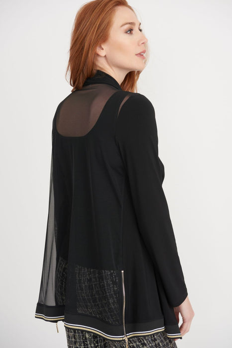 Joseph Ribkoff Black Sheer Back Open Front Cover-Up Jacket 203569 NEW