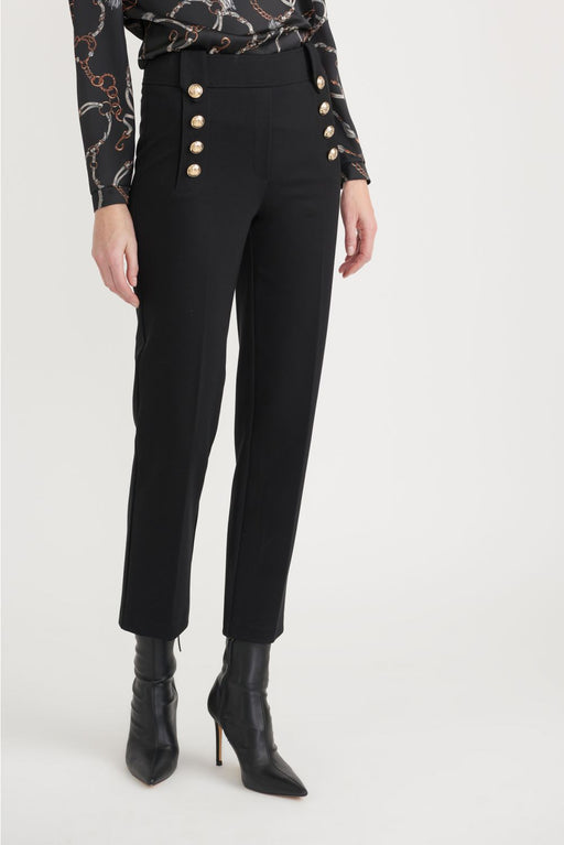 Joseph Ribkoff Style 203583 Black Button Accent Slip-On Cropped Pants