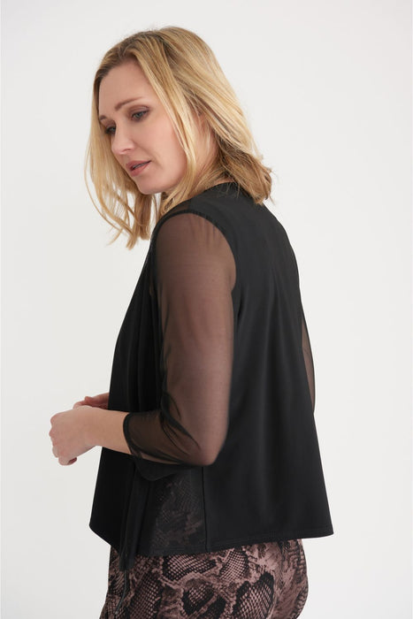 Joseph Ribkoff Black Semi-Sheer Paneled Open Front Bolero Jacket 203594 NEW