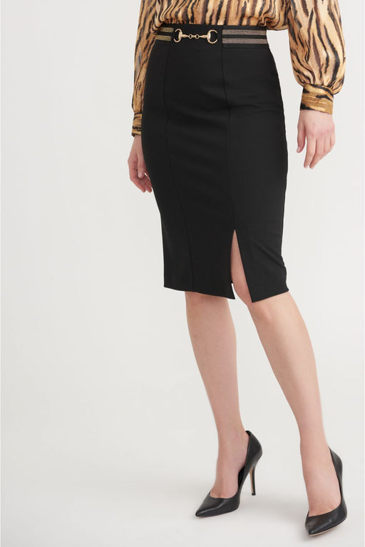 Joseph Ribkoff Style 203619 Black/Gold Striped Waist Front Slit Pencil Skirt