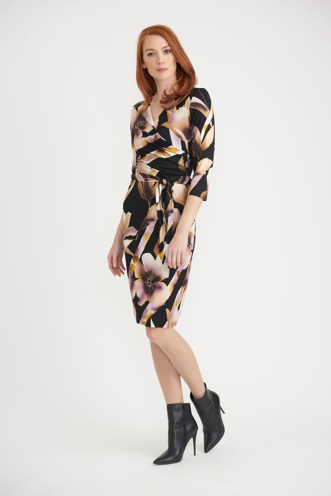 Joseph Ribkoff Style 203627 Black/Pink/Yellow Floral Print Belted Sheath Dress