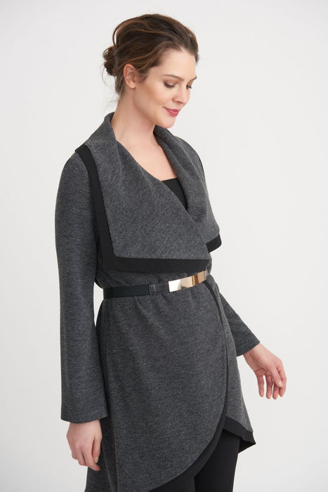 Joseph Ribkoff Style 203628 Charcoal Grey Belted High-Low Hem Long Cover-Up Jacket