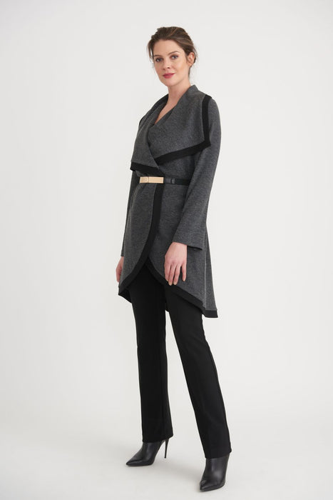 Joseph Ribkoff Charcoal Grey Belted High-Low Hem Long Cover-Up Coat 203628 NEW