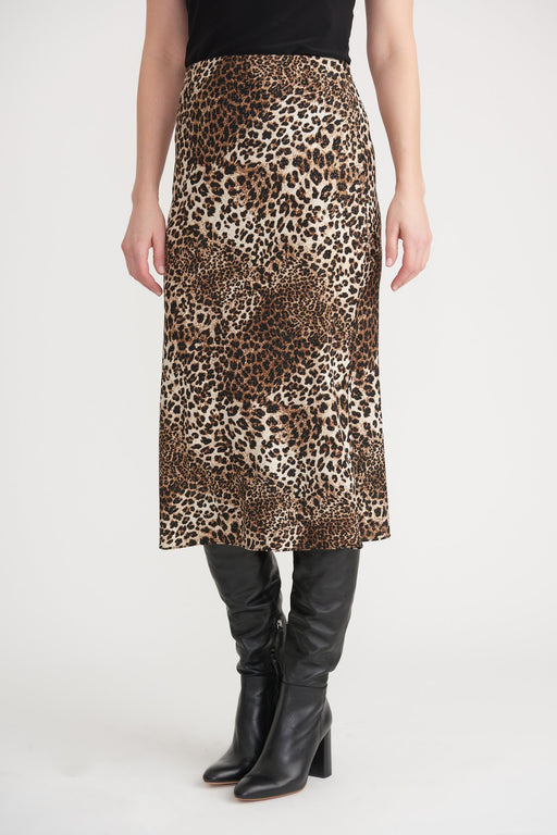 Joseph Ribkoff Style 203635 Brown/Black Animal Print Slip-On Midi Skirt