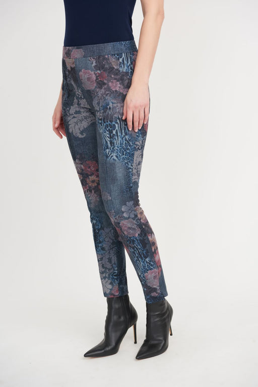 Joseph Ribkoff Style 203642 Denim Blue/Multi Floral Print Ankle Zip Slip-On Cropped Jeans