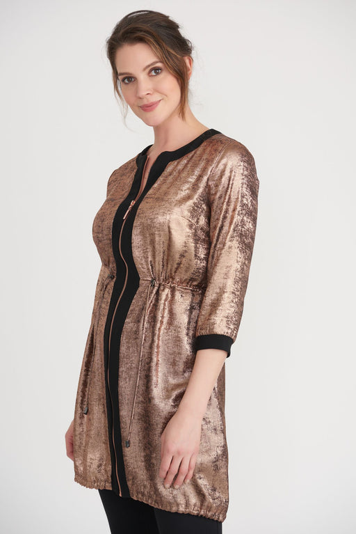 Joseph Ribkoff Style 203650 Black/Rose Gold Metallic Drawstring Hem Zip-Up Jacket