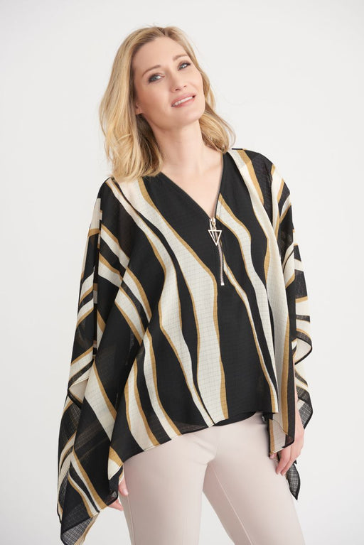 Joseph Ribkoff Style 203651 Black/Beige/Cream Wavy Striped Layered Kerchief Hem Blouse