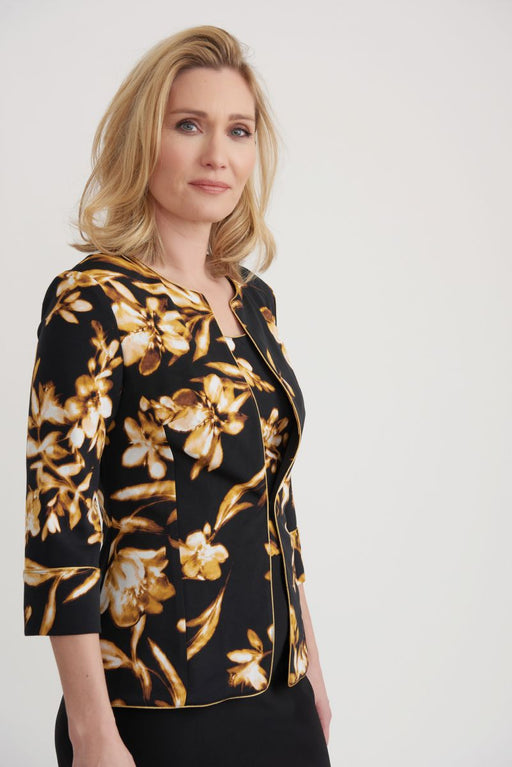 Joseph Ribkoff Style 203658 Black/Brown/Yellow Floral Print 3/4 Sleeve Twin Set Jacket