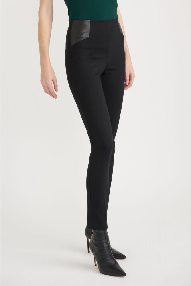 Joseph Ribkoff Style 203677 Black Faux Leather-Like Detail Slip-On Ankle Pants