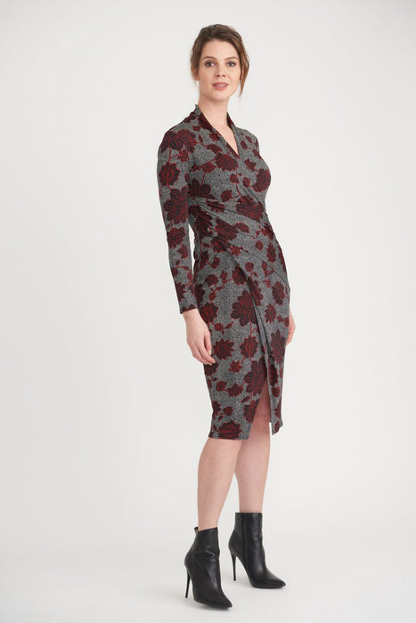 Joseph Ribkoff Style 203698 Black/Multi Floral Print Ruched Mock-Wrap Sheath Dress