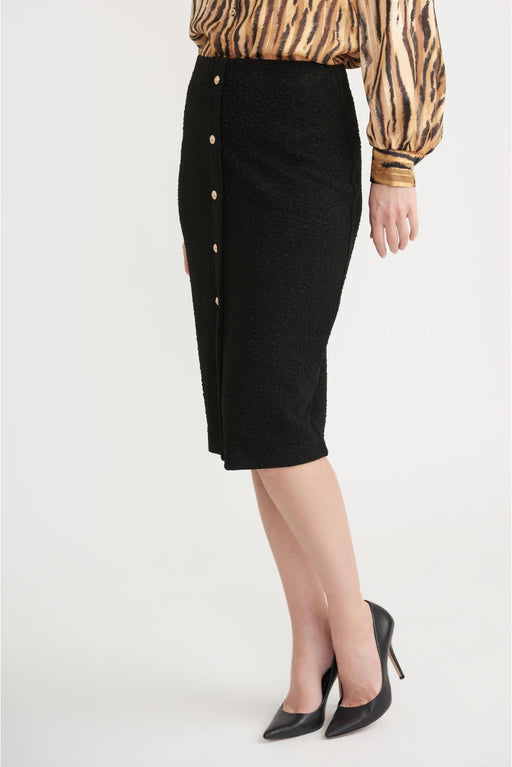 Joseph Ribkoff Style 203707 Black Button Accent Textured Slip-On Pencil Skirt