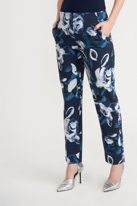 Joseph Ribkoff Style 203716 Midnight Blue/Multi Floral Print Cropped Pants