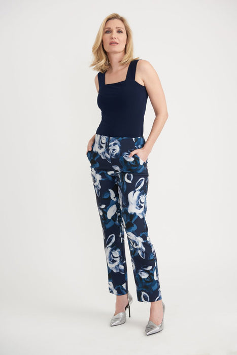 Joseph Ribkoff Midnight Blue/Multi Floral Print Cropped Pants 203716 NEW
