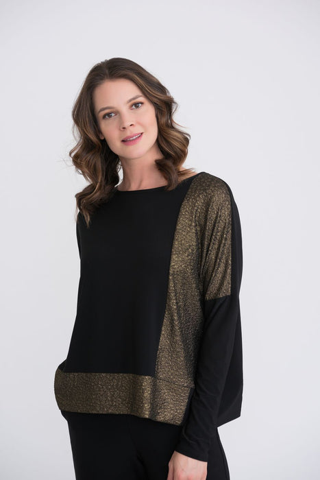 Joseph Ribkoff Style 204073 Black/Gold Color Block Long Sleeve Oversized Top