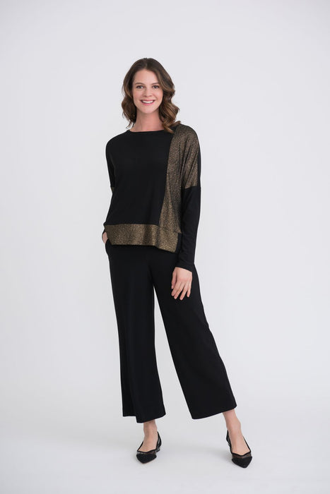 Joseph Ribkoff Black/Gold Color Block Long Sleeve Oversized Top 204073 NEW