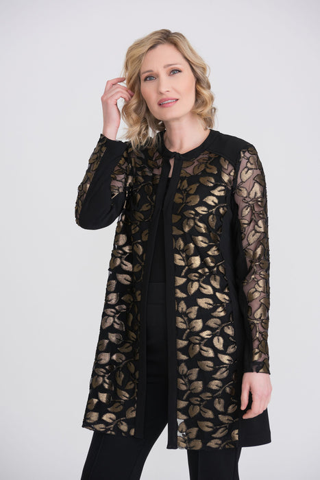 Joseph Ribkoff Style 204086 Black/Gold Leaf Appliqué Semi-Sheer Cover-Up Jacket