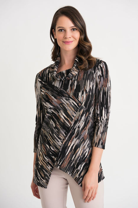 Joseph Ribkoff Style 204115 Black/Brown/Cream Abstract Strokes Asymmetric Top