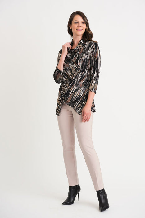 Joseph Ribkoff Black/Brown/Cream Abstract Strokes Asymmetric Top 204115 NEW