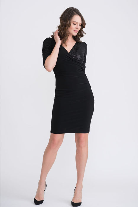 Joseph Ribkoff Style 204130 Black Sequined One-Sleeve Ruched Cocktail Dress