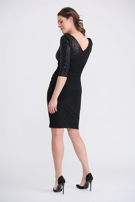 Joseph Ribkoff Black Sequined One-Sleeve Ruched Cocktail Dress 204130 NEW