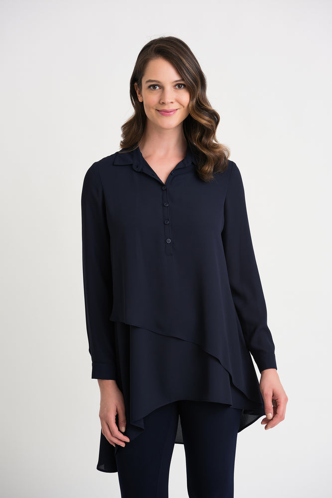 Joseph Ribkoff Style 204155 Midnight Blue Long Sleeve Layered Asymmetric Tunic Top