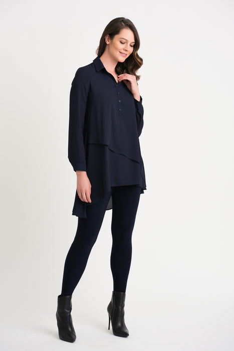 Joseph Ribkoff Midnight Blue Long Sleeve Layered Asymmetric Tunic Top 204155 NEW