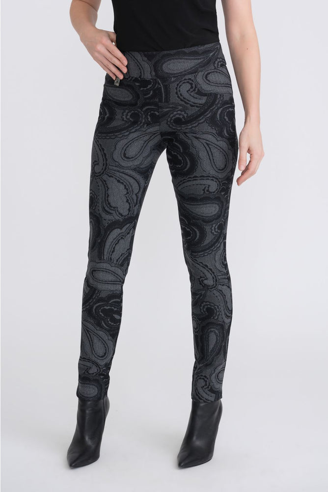 Joseph Ribkoff Style 204216 Grey/Black Paisley Print Slip-On High-Waist Pants