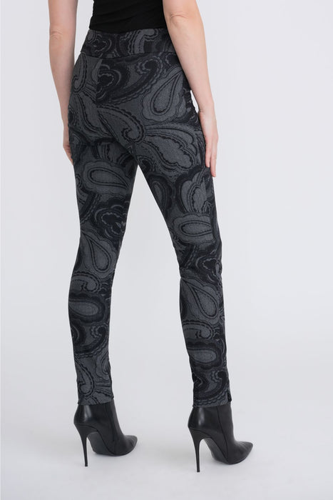 Joseph Ribkoff Grey/Black Paisley Print Slip-On High-Waist Pants 204216 NEW