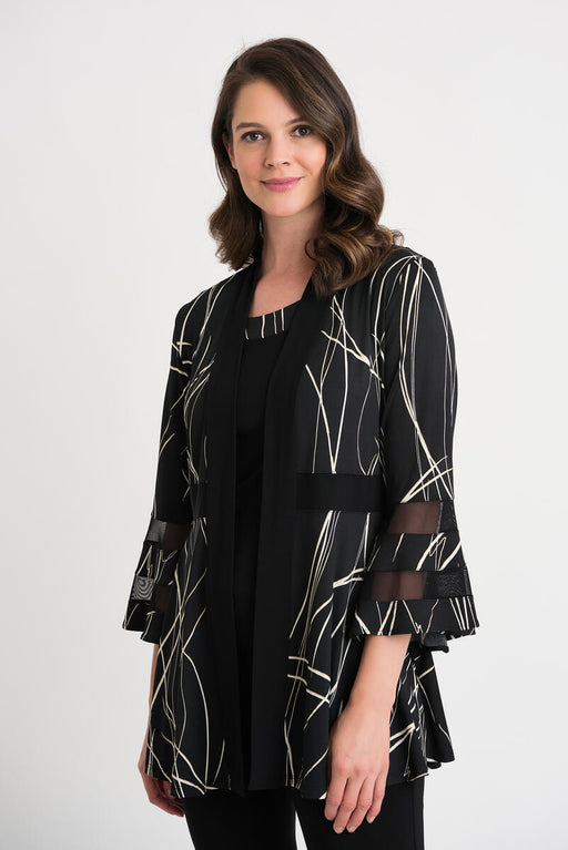 Joseph Ribkoff Style 204229 Black/Ivory/Gold Abstract Strokes Sheer Detail Twin Set Jacket
