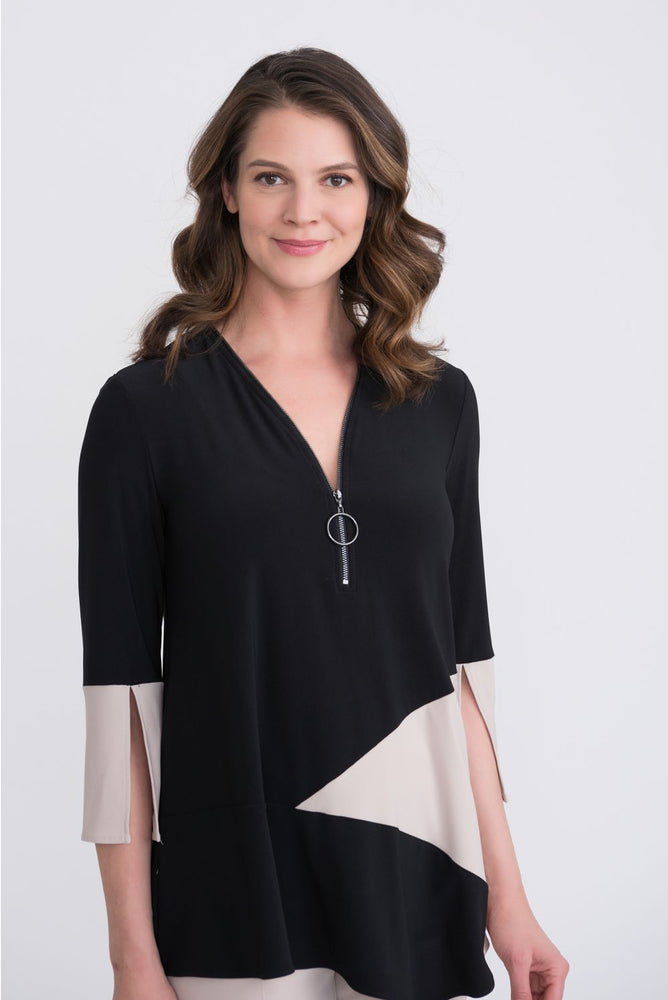 Joseph Ribkoff Style 204232 Black/Sand Color Block 3/4 Split Sleeve Tunic Top