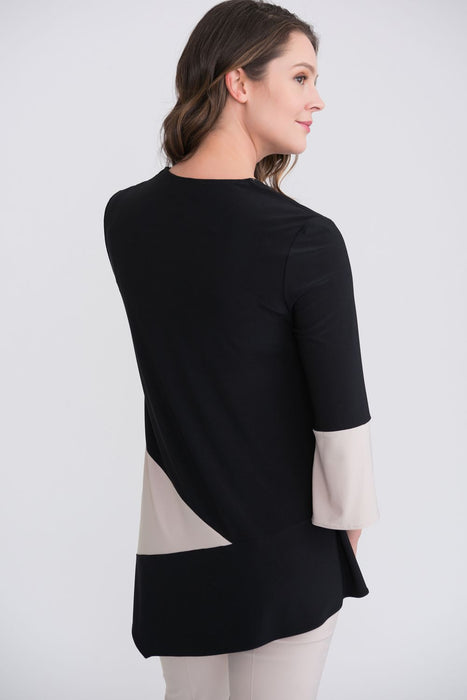 Joseph Ribkoff Black/Sand Color Block 3/4 Split Sleeve Tunic Top 204232 NEW