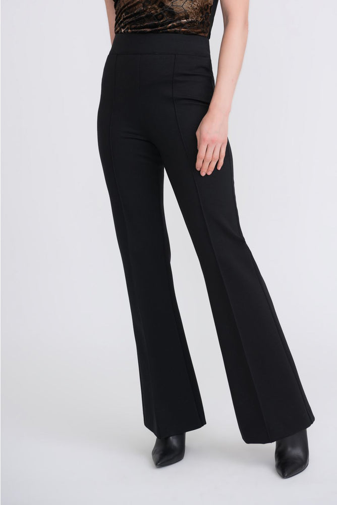 Joseph Ribkoff Style 204258 Black Pleated Slip-On High-Waist Flared Pants