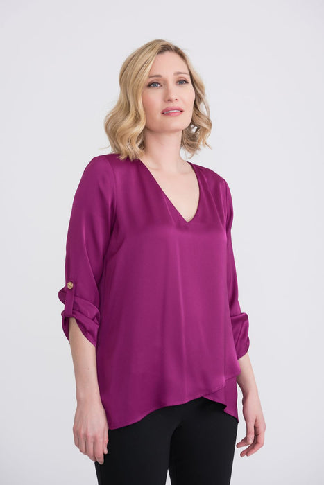Joseph Ribkoff Style 204312 Magenta V-Neck 3/4 Sleeve High-Low Hem Blouse