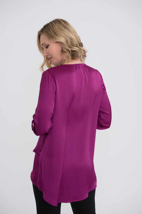 Joseph Ribkoff Magenta V-Neck 3/4 Sleeve High-Low Hem Blouse 204312 NEW