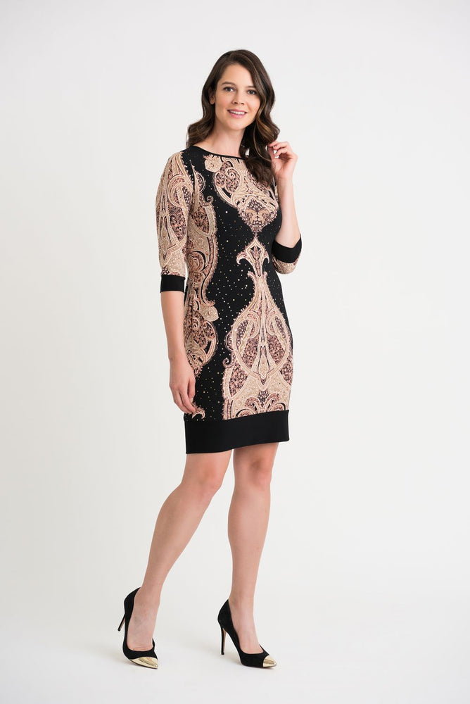 Joseph Ribkoff Style 204325 Black/Beige/Brown Paisley Print Sequined Sheath Dress