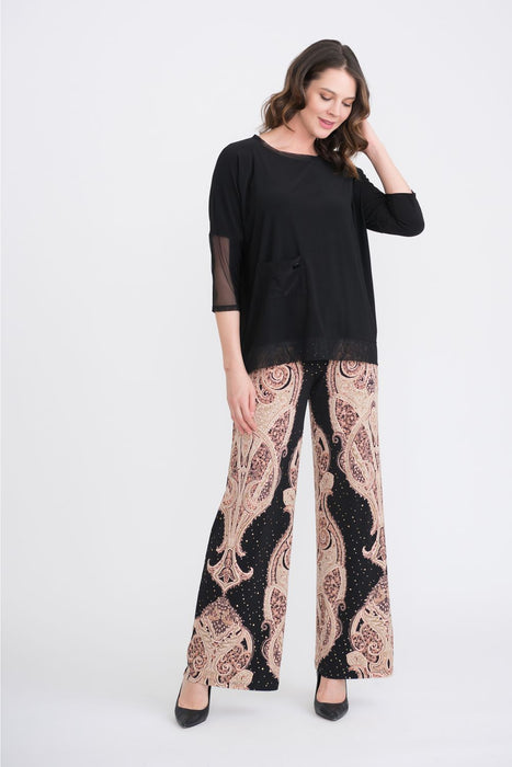 Joseph Ribkoff Black/Beige/Brown Paisley Print Sequined Palazzo Pants 204338 NEW
