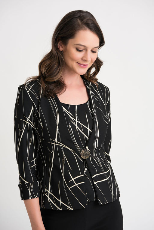 Joseph Ribkoff Black/Ivory/Gold Abstract Strokes 3/4 Sleeve Twin Set Jacket 204340 NEW