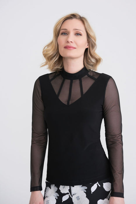 Joseph Ribkoff Style 204378 Black Caged Neck Sheer Sleeve Top