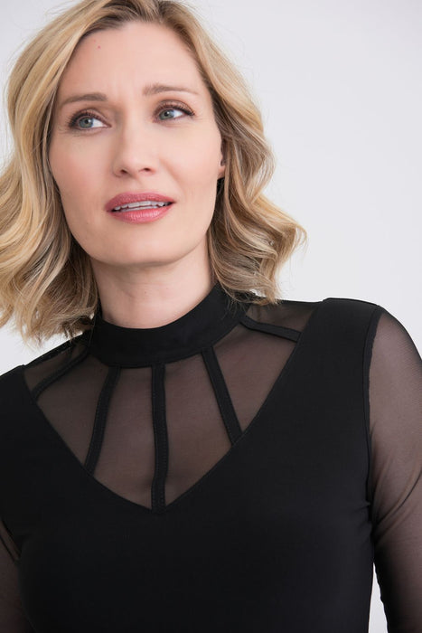 Joseph Ribkoff Black Caged Neck Sheer Sleeve Top 204378 NEW