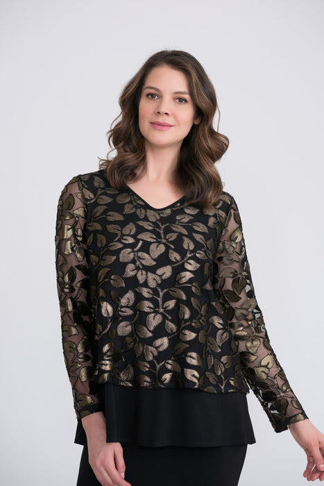 Joseph Ribkoff Style 204388 Black/Gold Leaf Appliqué Long Sleeve Layered Tunic Top