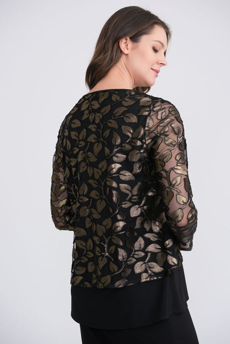 Joseph Ribkoff Black/Gold Leaf Appliqué Long Sleeve Layered Tunic Top 204388 NEW