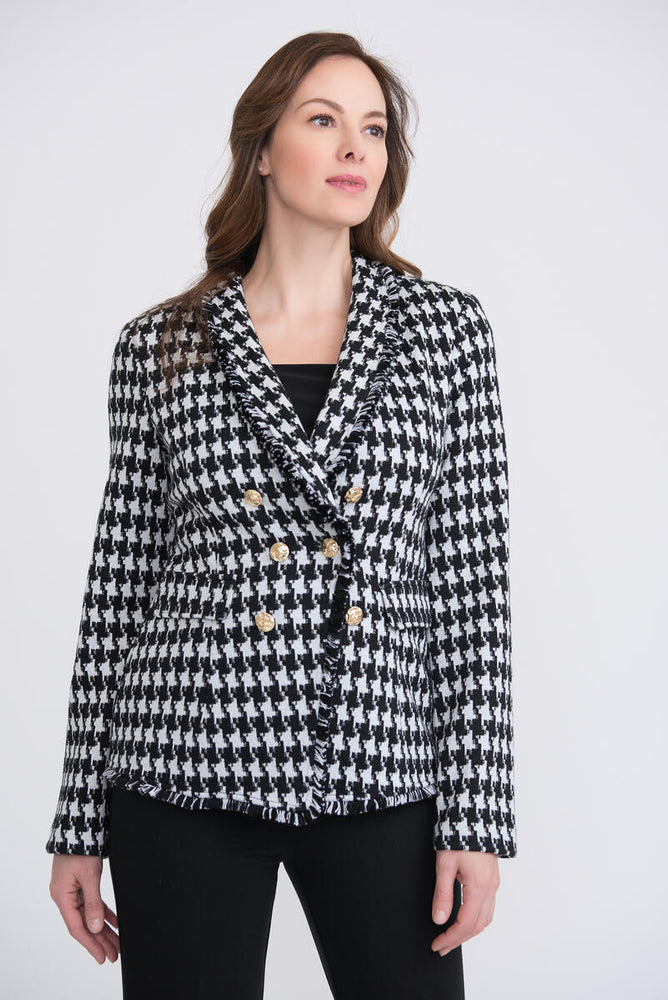 Joseph Ribkoff Style 204401 Black/White/Silver Double-Breasted Houndstooth Tweed Jacket