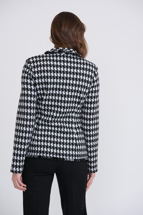 Joseph Ribkoff Black/White/Silver Double-Breasted Houndstooth Blazer Jacket 204401 NEW