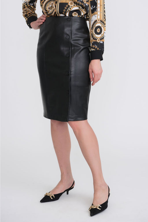 Joseph Ribkoff Style 204405 Black Off-Center Button Detail Faux Leather Pencil Skirt
