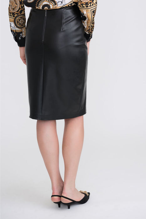 Joseph Ribkoff Black Off-Center Button Detail Faux Leather Pencil Skirt 204405 NEW