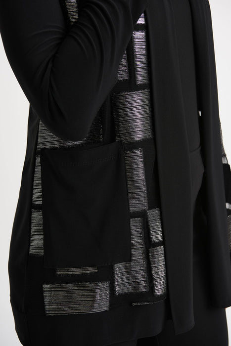 Joseph Ribkoff Black/Silver Threaded Long Sleeve Open Front Cardigan 204417 NEW